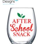 """After School Snack"" 15oz Stemless Wine Glass"