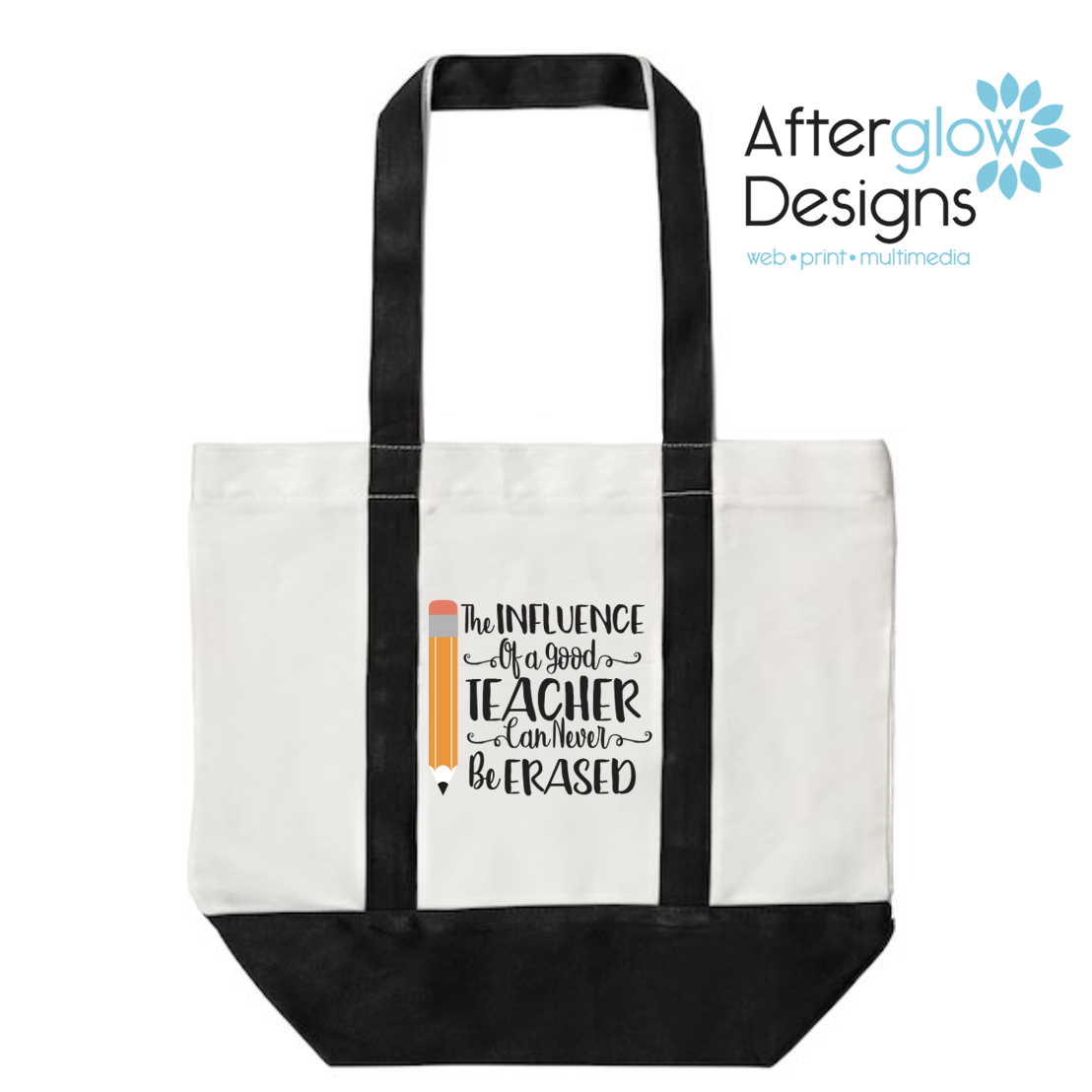 """Influence of a Good Teacher Can Never Be Erased"" on Black Tote Bag"