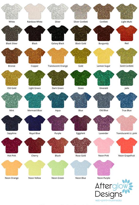 Siser Glitter Color Chart