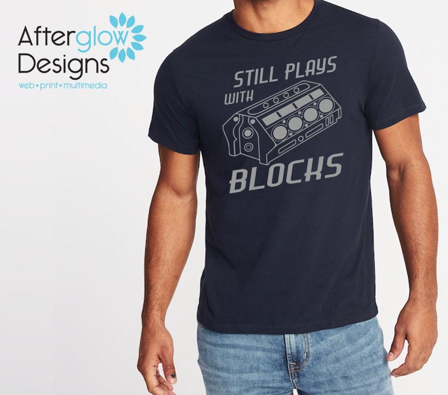 """Still Plays with Blocks"" on Navy Basic Tee"