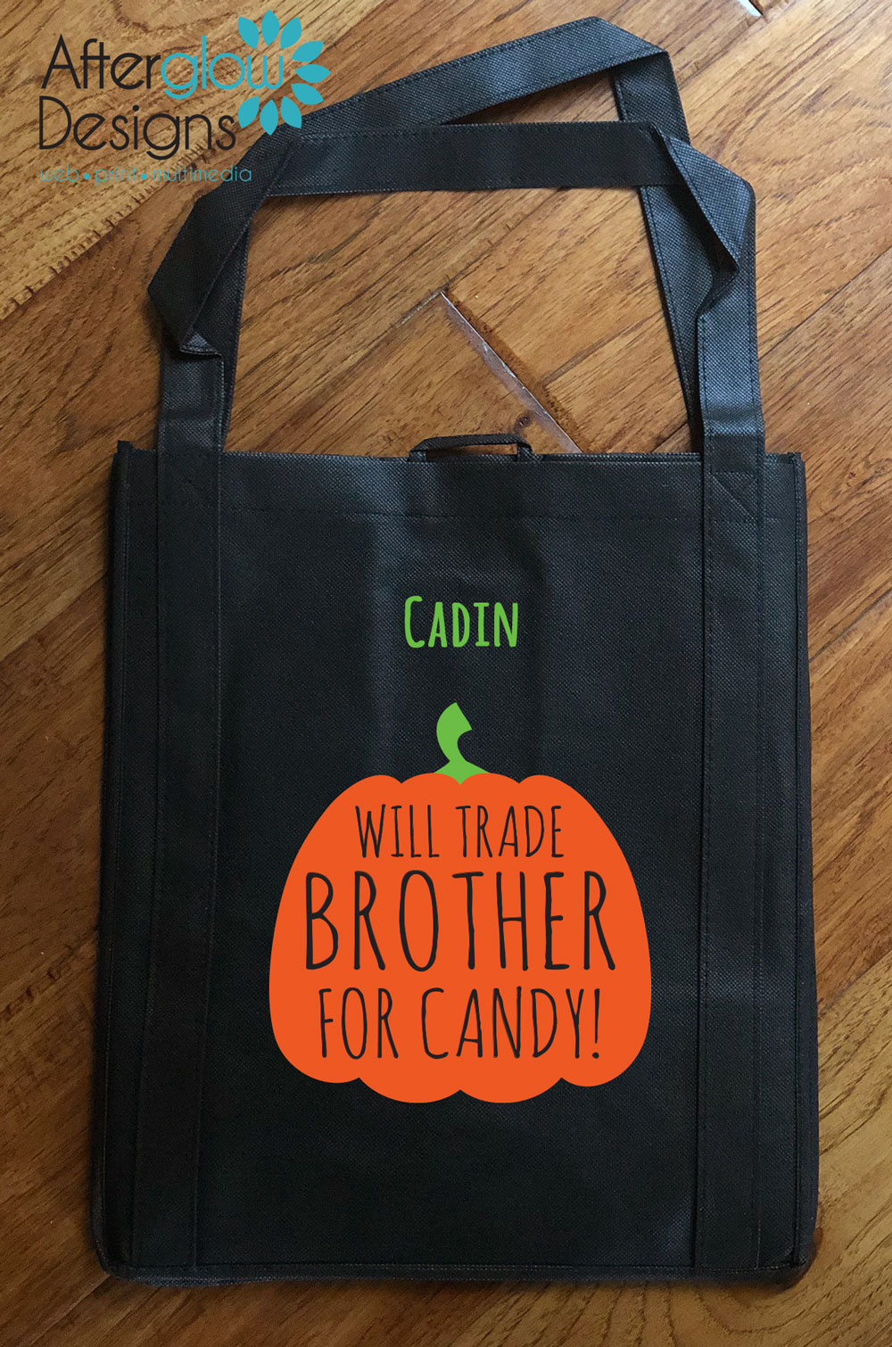 "Trick or Treat Bag - ""Will Trade Brother for Treats"""