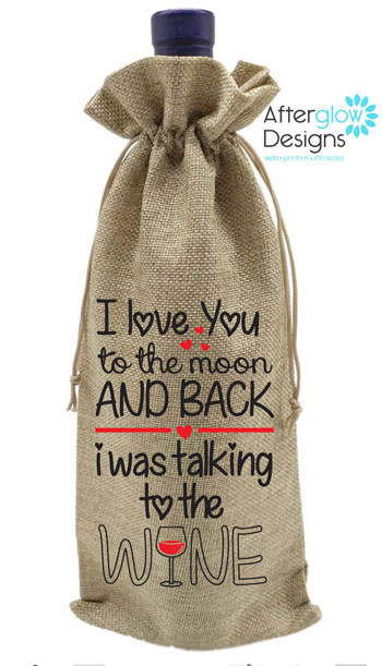 I Love You to The Moon and Back Wine Bottle Gift Bag